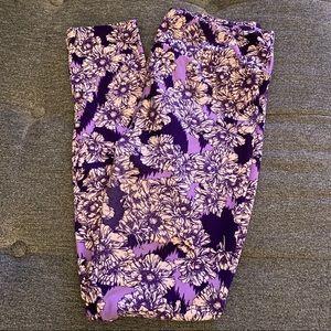 LuLaRoe Purple Floral Leggings One Size